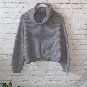 Express Cowl Neck Knit Cropped Sweater